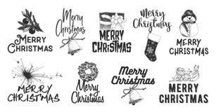 Handgezogenes Skizzensatz Weihnachten und Neujahrsfeiertag auf weißem Hintergrund Ausführliche Weinleseradierungszeichnung lizenzfreie abbildung