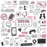 Handgezogenes Social Media kritzelt Satz lizenzfreie abbildung