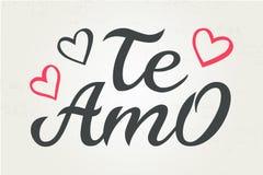 Handgezogenes Typografiebeschriftung Te Amo Te Amo - ich liebe dich auf spanisch, romantische dekorative Beschriftung Vektorvalen stock abbildung