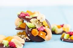 Handgjord choklad med kanderad frukt och muttrar Fotografering för Bildbyråer