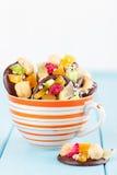 Handgjord choklad med kanderad frukt och muttrar Royaltyfri Bild