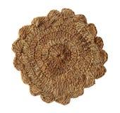 Handgjord dekorativ stucken torkduk som göras av hampa Arkivbild