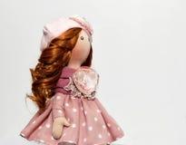 Handgjord docka för souvenir med naturligt hår Arkivbild