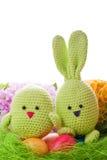 Handgjord easter kanin och fågelunge Arkivfoton