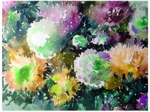 Handgjord färgrik ljus texturerad abstrakt bakgrund för vattenfärg yellow för modell för hjärta för blommor för fjärilsdroppe blo Arkivfoto