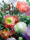 Handgjord färgrik ljus texturerad abstrakt bakgrund för vattenfärg yellow för modell för hjärta för blommor för fjärilsdroppe blo Arkivbilder