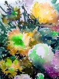 Handgjord färgrik ljus texturerad abstrakt bakgrund för vattenfärg yellow för modell för hjärta för blommor för fjärilsdroppe blo Fotografering för Bildbyråer