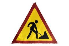 Handgjord ` för arbeten för vägmärke`-väg som isoleras på vit Arkivbilder