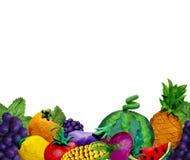 Handgjord frukt 3D för färgrik plasticine och SÖMLÖS GRÄNS för grönsaker med textstället royaltyfri fotografi