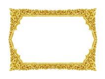 Handgjord gammal dekorativ guld- ram -, inristat - som isoleras fotografering för bildbyråer