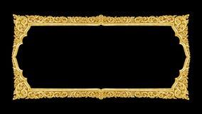 Handgjord gammal dekorativ guld- ram -, inristat - som isoleras på bla arkivbilder