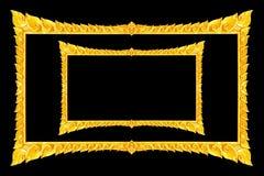 Handgjord gammal dekorativ guld- ram -, inristat - som isoleras på bla arkivfoto