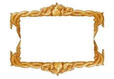 Handgjord gammal dekorativ guld- ram -, inristat - som isoleras på vit bakgrund royaltyfria bilder