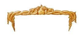 Handgjord gammal dekorativ guld- ram -, inristat - som isoleras på vit bakgrund royaltyfri foto