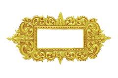 Handgjord gammal dekorativ guld- ram -, inristat - som isoleras på whi royaltyfri fotografi