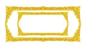 Handgjord gammal dekorativ guld- ram -, inristat - som isoleras på whi royaltyfria bilder