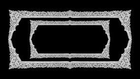 Handgjord gammal dekorativ ram -, inristat - som isoleras på svarta lodisar royaltyfri bild