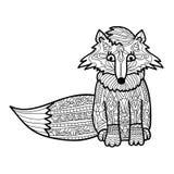 Handgjord isolerad vektor för Zantangle räv på en vit bakgrund för din design vektor för djursamlingsbild för färgläggningdiagram Royaltyfria Foton