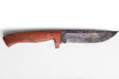 Handgjord jaktkniv med träfattandet royaltyfri foto