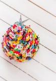 Handgjord knapp och Pin Christmas Tree Arkivbilder