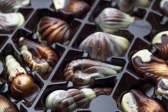 Handgjord lyxig choklad i en ask - som skjutas i studio fotografering för bildbyråer