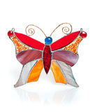 Handgjord målat glassfjäril på vit Royaltyfri Fotografi