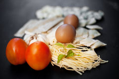 Handgjord ny pasta Arkivbild