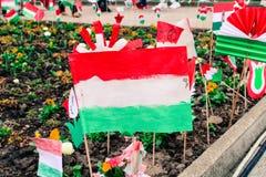 Handgjord officiell ungersk flagga arkivfoton