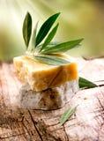 Handgjord olivgrön tvål Arkivbild