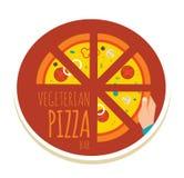 Handgjord pizzaillustration pizzasymbol för a Arkivbild