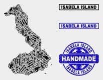 Handgjord sammansättning av Isabela Island av den Galapagos översikten och den texturerade stämpeln royaltyfri illustrationer