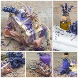 Handgjord tvål för lavendel collage arkivfoto