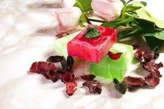 Handgjord tvål med bad- och brunnsorttillbehör Fotografering för Bildbyråer