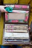 Handgjord urklippsbok Arkivbild
