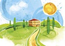 Handgjord vattenfärg Tuscany Royaltyfri Bild