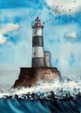 Handgjord vattenfärgillustration av fyren på havet vektor illustrationer