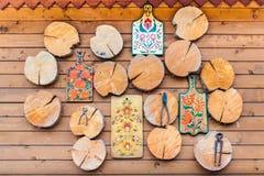 Handgjord wood skärbräda för valnöt Arkivfoto