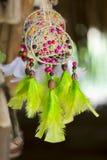 Handgjorda örhängen som planläggs med kulöra fjädrar i den Brasilien tourien Royaltyfri Bild