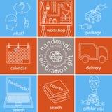 Handgjorda berömgåvasymboler ställde in, den olika färgversionen Arkivbilder
