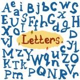 Handgjorda calligraphic bokstäver, skriftvektortyp Royaltyfri Illustrationer