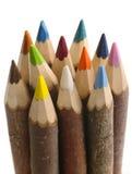 Handgjorda färgblyertspennor Arkivbild