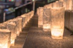 Handgjorda japanska rispapperlyktor som exponerar momenten av Arkivbilder