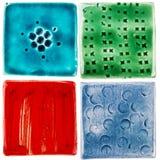 Handgjorda keramiska tegelplattor Fotografering för Bildbyråer