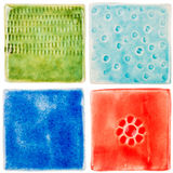 Handgjorda keramiska tegelplattor Royaltyfria Bilder