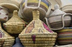 Handgjorda korgar Fes Marocko Royaltyfri Foto
