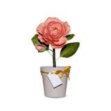 Handgjorda pappers- blommor i krukor Fotografering för Bildbyråer