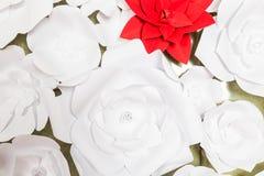 Handgjorda pappers- blommor på inre Arkivbild