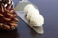 Handgjorda strikt vegetarianbollar som göras från kokosnötsmör Royaltyfria Bilder