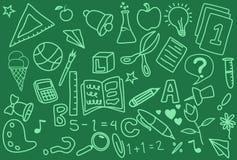 Handgjorda symboler för klotter för skoladag stock illustrationer