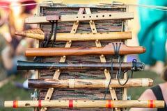 Handgjorda träblåsinstrument Arkivbild